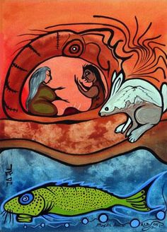 How Birch Got His Thunderbirds, Moses Amik Beaver Native Canadian, Aboriginal Artists, Native Art, Tigger, Scooby Doo, Birch, Nativity, Graphic Art, Woodland
