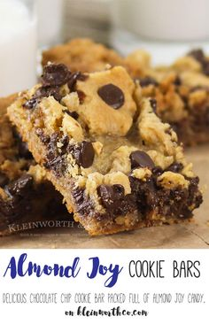 Almond Joy Cookie Bars- yummy bar recipe that will soon become a family favorite. Loaded with Almond Joy & a secret ingredient, SO GOOD! via @KleinworthCo