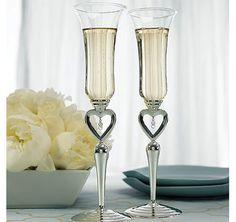 Silver Plated Jewel Drop Stem Wedding Toasting Flute Glasses