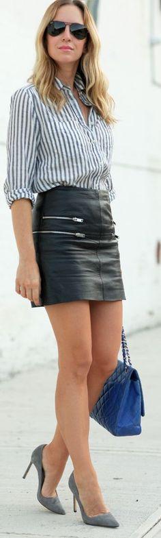Zara Black Leather Zip Detail Mini Skirt by Brooklyn Blonde