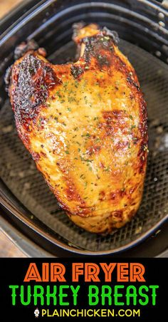 Air Fryer Turkey Breast - hands down the best turkey I've ever eaten. SO tender and juicy. Cooks in under an hour! Bone-in turkey breast marinated in Italian dressing and Worcestershire sauce and cook Air Fryer Turkey Recipes, Air Fryer Recipes Low Carb, Air Fryer Recipes Breakfast, Air Fryer Dinner Recipes, Air Fryer Turkey Breast Recipe, Cooks Air Fryer, Sandwiches, Air Fried Food, Air Frier Recipes