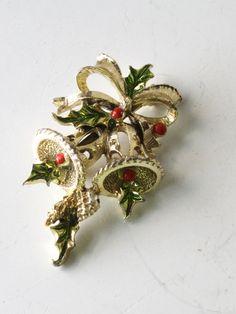 Vintage Christmas Bells Brooch Signed by ShantyIrishVintage
