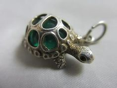 Jelly belly paste sterling silver tortoise Nuvo charm vintage c1960 tbj00359