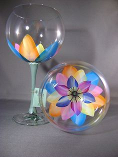 hand painted wine glasses ~ beautiful....maybe a DIY?