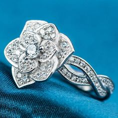Ericdress Micropave Diamante Rose Ring 3