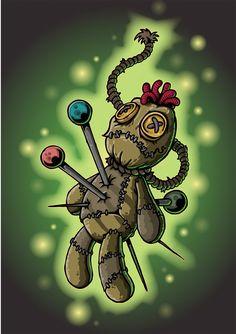 Voodoo Doll Tattoo, Voodoo Dolls, Arte Horror, Horror Art, Corvo Tattoo, Voodoo Hoodoo, Voodoo Priestess, Doll Drawing, Gothic Fantasy Art
