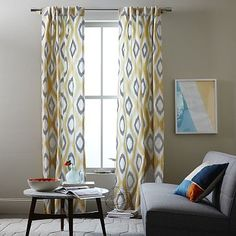Overview One cool ikat. Our designers translated a watercolor design into the Cotton Canvas Ikat Diamond Curtain. Its mixed palette of cool,...