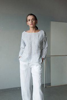 NEW Striped white blue linen top, long sleeve linen tshirt, loose fitting linen short tunic top, linen blouse