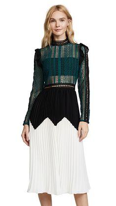 Self Portrait Stripe Panelled Lace Midi Dress | SHOPBOP