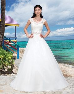 Lace V-neck and cap sleeves ball gown  #sleeves #lace #weddingdress #dress #bride #v-neck