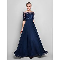 Sheath/Column Off-the-shoulder Floor-length Chiffon And Tulle Evening Dress (551359) – USD $ 179.99