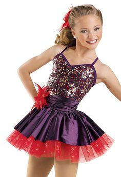 This one is cute for tap or jazz if the dance is compotation add a chocker if the dance is not computation then don't add a chocker. Maybe if you wanted you could add some gloves maybe black or white!