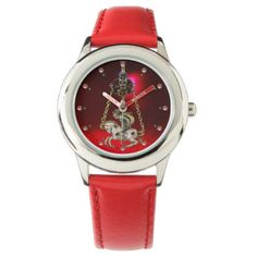 ANTIQUE JEWEL GEMSTONES KNIGHT ON THE HORSE Red Wrist Watch - vintage gifts retro ideas cyo