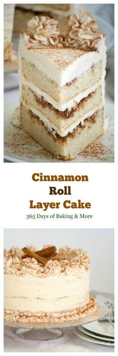 This Cinnamon Roll Layer Cake is a three layer cake with each layer covered in a cinnamon glaze and completely frosted with a incredible cinnamon frosting. A great recipe in Lindsay Conchar's (founder (Layer Cake Recipes) Homemade Cake Recipes, Cupcake Recipes, Baking Recipes, Dessert Recipes, Homemade Breads, Birthday Cake Recipes, Homemade Cookbook, Layer Cake Recipes, Homemade Birthday