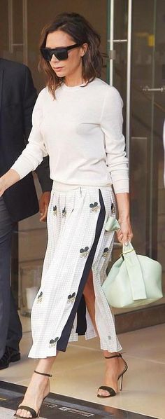Victoria Beckham out in New York City, spotted in ##victoriabeckham crewneck sweater! #dailylook from @LoveVictoriaBeckham's closet