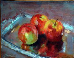 Manzanas reflejos 024x019 Óleo sobre lienzo