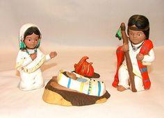 Ceramic Native American Indian Nativity Set 19 by LeviLadyCeramics