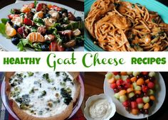 Healthy Goat Cheese Recipes: ■ Tropical Salad with Citrus Goat Cheese Vinaigrette ■ Fruit Kebabs with Honey Goat Cheese Dip ■ Goat Cheese and Butternut Squash Barley Risotto ■ Two Ingredient Creamy Pasta Sauce ■ Broccoli, Goat Cheese and Spinach Egg White Quiche