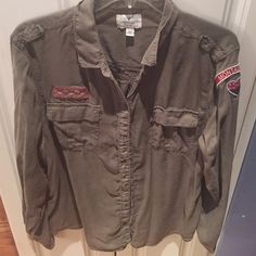 American Eagle Army Green Soldier Style Silky top American Eagle Army Green Soldier Style Silky top  XL American Eagle Outfitters Tops Button Down Shirts