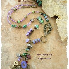 Romantic Bohemian Necklace, Fairies, Purple and Green, Secret Garden Necklace, Enchanting Necklace, Boho Style Me, Designs by Kaye Kraus