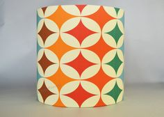 Handmade drum lamp shade retro style - mid century diamond pattern