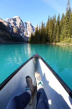 The bluest water can be found in the famous Moraine Lake in Banff National Park! Make sure you wake up early to get a parking spot for this gem and head out on the chilly waters for even better views of the Canadian lake!