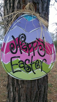 Hand Painted Easter Egg Door Hanger by FrillyFrogArt on Etsy, $40.00