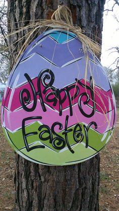 Hand Painted Easter Egg Door Hanger by FrillyFrogArt on Etsy, $40.00