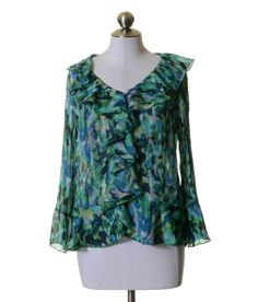 Allison Taylor Jade Green Blue Print Ruffle Trim Crinkled Blouse Size M #AllisonTaylor #Blouse #Casual
