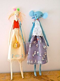 Cloth display doll, embroidered linen Little Oshi doll elephent.