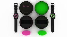 """Packaging para el reloj Arrow: caja cilíndrica de cartón negro con interior en color. Al abrir el envase, nos encontramos con el """"Decálogo de la vida Arrow"""", ya que se trata de un reloj que imprime un carácter especial. Al retirarlo aparece el reloj montado sobre una espuma elíptica del color del reloj. Será posible conocer qué modelo hay en el interior de cada caja por el color del logo de la tapa. (Ana Bustos Fernandez) http://anabustosfdez.wix.com/anabustos-design#!pakaging-arrow/c1v1y"""