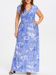 Floral Plus Size Maxi Empire Waist Dress - BLUE 4XL