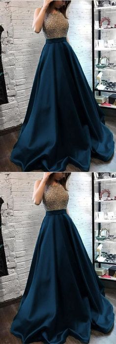 Sparkly Beaded Halter Long Satin Evening Gowns Open Back Pro.- Sparkly Beaded Halter Long Satin Evening Gowns Open Back Prom Dresses Long Evening Dress - Party Wear Dresses, Day Dresses, Evening Dresses, Winter Dresses, Wedding Dresses, Work Dresses, Afternoon Dresses, Dress Outfits, Summer Dresses