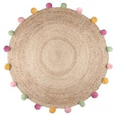 Tapis en jute à pompons Pimprenelle (Jute) - Homemaison : vente en ligne tapis déco Decoration, Unique, Contour, Composition, Products, Pom Poms, Budget, Child Room, Pretty