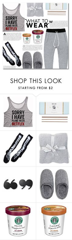 """""""What to Wear: Netflix Binge"""" by dolly-valkyrie ❤ liked on Polyvore featuring moda, Astier de Villatte, Barefoot Dreams, Kate Spade, Natori y WhatToWear"""