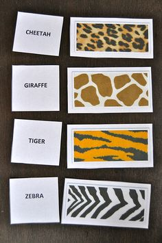 Zoo Animal Texture Cards-- these could be table placements instead of animals.