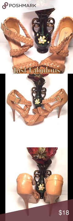 "Just Fabulous Beige Stiletto Platform Sandals Size 10 * 5.5 "" Faux Wooden Heel* Criss-Cross Strappy Adjustable Straps * 1"" Front Platform * Non-Skid Rubber Sole * Lightweight * Never used Like New * Just Fabulous Shoes Sandals"