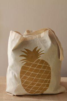 "tote bag, sac en coton ""l'ananas bling bling"" pineapple"