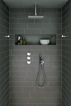 Ideas For Bathroom Remodel Grey And White Shower Niche Grey Bathroom Tiles, Laundry In Bathroom, Bathroom Renos, Grey Bathrooms, Beautiful Bathrooms, Bathroom Interior, Modern Bathroom, Grey Tiles, Bathroom Ideas