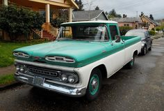 Old Parked Cars.: 1961 Chevy Apache 10 Custom. This is Molly's truck that breaks down from time to time.
