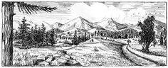 dessin paysage montagne -