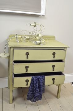 This cute 3 drawer chest of drawers painted in Annie Sloan Versailles with the inner drawers painted in Emile makes a great addition to any bedroom