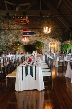 Blue & White striped table runners for this nautical themed wedding in New Hampshire.  Photo: Rodeo & Co.
