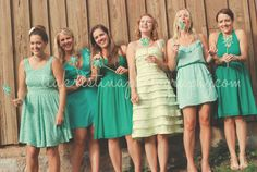 Pin wheels and gorgeous mismatched bridesmaids!