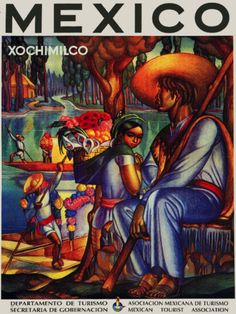 Mexican Vintage Poster.Xochimilco.Home art Decor 805i