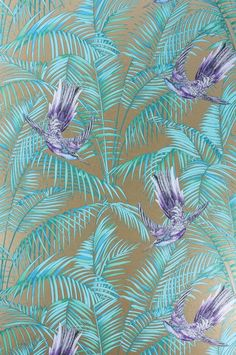 Sunbird Wallpaper A delightful wallpaper designed by Matthew Williamson featuring colourful exotic birds darting between rich foliage in purple and turquoise on a metallic bronze background.