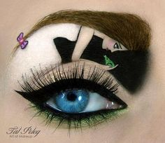 """Israeli makeup artist, Tal Peleg, uses eyeliner and eye shadow to create elaborate makeup masterpieces on eyelids, featuring iconic characters and films such as """"The Sound of Music"""" and """"Phantom of the Opera."""" The whimsical artist lists the products she uses for each eyelid canvas on her Facebook page for her followers."""