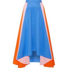 Peter PilottoAsymmetric Cotton-poplin Skirt (8.892.130 IDR) ❤ liked on Polyvore featuring skirts, bright blue, mid calf skirts, panel skirt, midi skirt, blue midi skirt and blue skirt