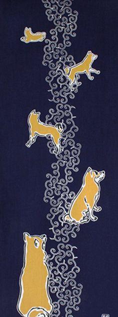 Japanese Tenugui cotton towel fabric. Kawaii shiba dog / various poses design on dark blue. High quality tenugui fabrics made of soft 100% cotton cloth and hand dyed by Japanese master dyers. [ H o w T o U s e ] * towel * washcloth * dishcloth * headband / bandanna * scarf * wall