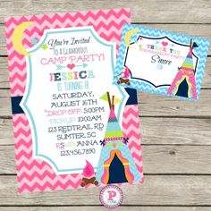 ON SALE Glam Camping Party Teepee Invite Girls Camp Personalized Birthday Invitation Pink Chevron Sleepover Campout